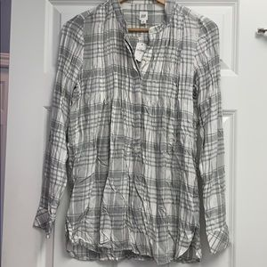 NWT Gap smocked button up flannel